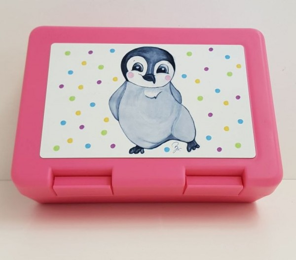 Brotzeitbox Pinguin rosa