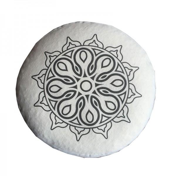 Yogakissen Bio-Flanell bedruckt (GOTS), Höhe: 16 cm, -o- 28 cm Mandala schwarz und weiß