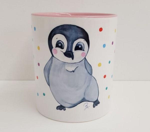 Kindertasse Pinguin rosa