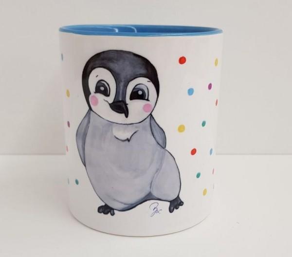 Kindertasse Pinguin hellblau