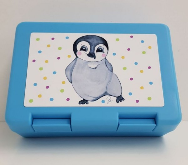 Brotzeitbox Pinguin hellblau