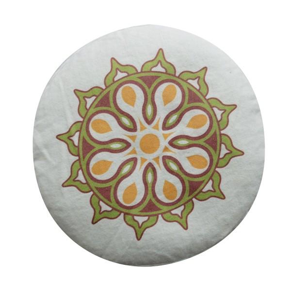 Yogakissen Bio-Flanell bedruckt (GOTS), Höhe: 16 cm, -o- 28 cm Mandala farbig